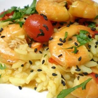 Ριζότο με Γαρίδες και Σαφράν
